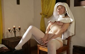 Dirty-minded old nun prefers to sleep wearing just white stockings