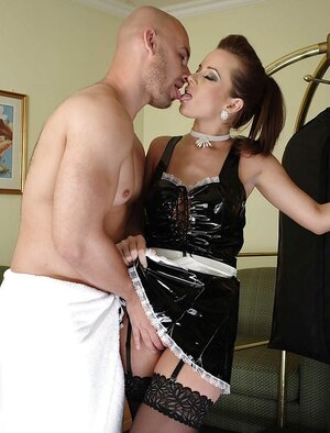 Housemaid in latex uniform and plus stockings gladdens bald boss with cock sucking