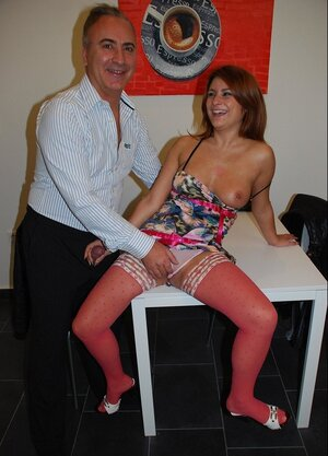 Insatiable redhead in pink stockings Bellina actively rides partner's mature fuck pole