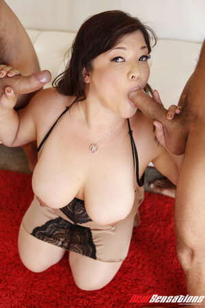 Super-sexy Asian BBW with nice tits fucked by roommates on a white sofa
